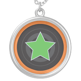 Roller Derby Jammer Star Silver Plated Necklace