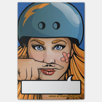 Roller Derby Moustache Girl Comic Book post-its Post-it Notes