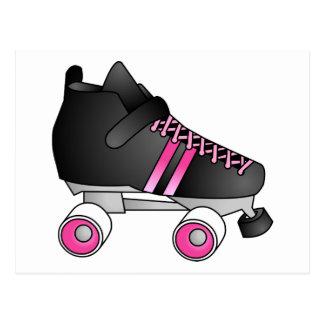 Roller Derby Skate Black and Pink Postcard