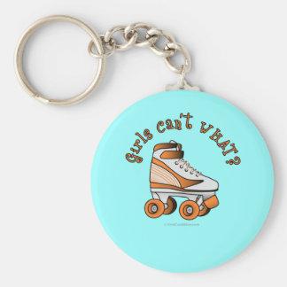 Roller Derby Skate - Orange Basic Round Button Key Ring