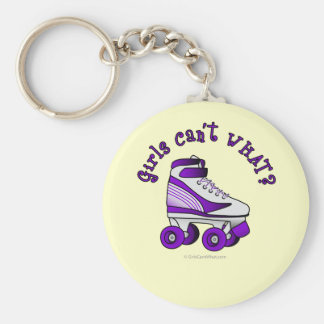 Roller Derby Skate - Purple Basic Round Button Key Ring