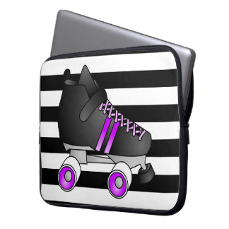 Roller Derby Skates Black and Purple Laptop Sleeve