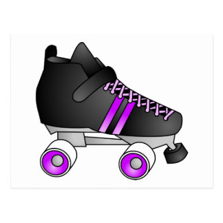 Roller Derby Skates Black and Purple Postcard
