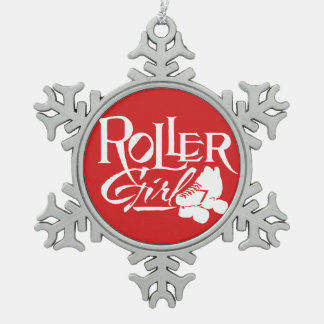 Roller Girl, Roller Derby Snowflake Pewter Christmas Ornament
