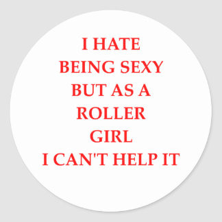 roller girl round sticker