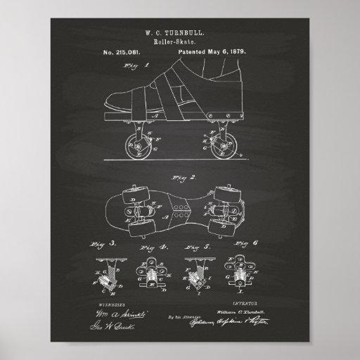 Roller Skate 1879 Patent Art Chalkboard Poster