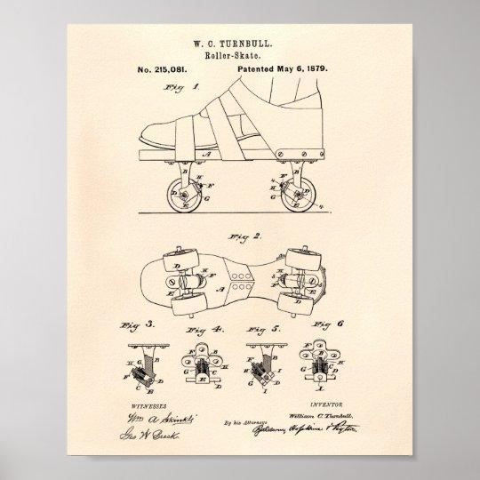 Roller Skate 1879 Patent Art Old Peper Poster