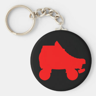 roller skate basic round button key ring
