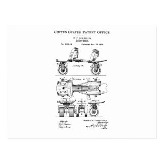 Roller Skate Patent  Paper Items Postcard