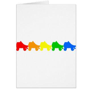 roller skate rainbow greeting card