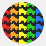 roller skate rainbow round sticker