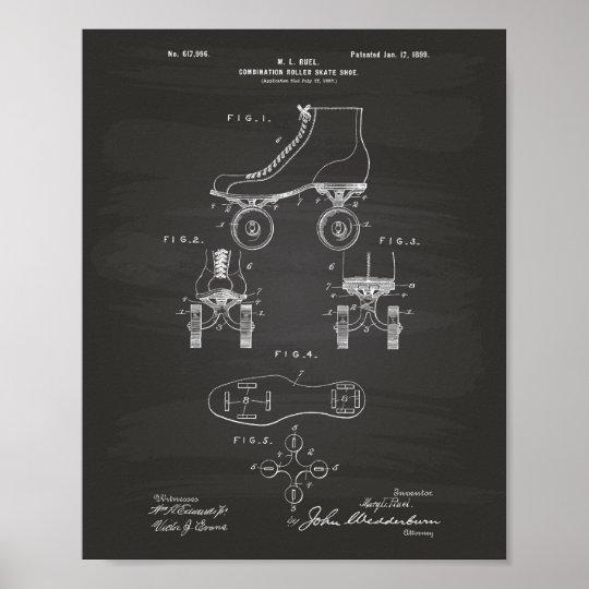 Roller Skate Shoe 1899 Patent Art Chalkboard Poster