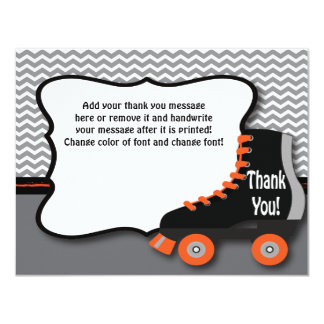 Roller Skate Thank You Card 11 Cm X 14 Cm Invitation Card