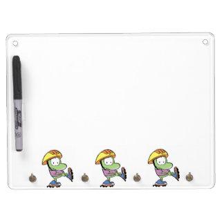 Roller Skates Frog Cartoon Dry Erase White Board