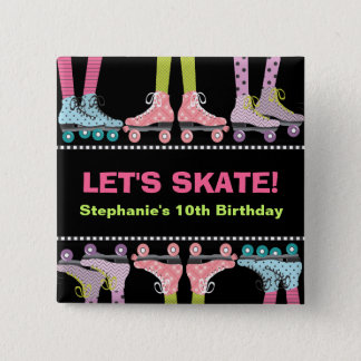 Roller Skating Birthday Party Favor for Girls 15 Cm Square Badge