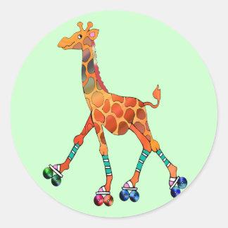 Roller Skating Giraffe Classic Round Sticker