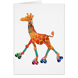 Roller Skating Giraffe Greeting Card