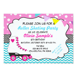 Roller Skating Party Chevron Birthday Invitation