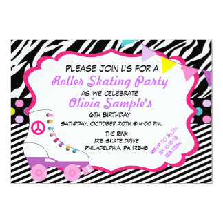 Roller Skating Party Zebra Birthday Invitation