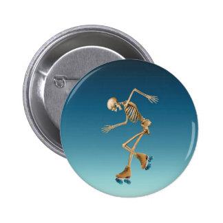 Roller Skating Skeleton Blues 6 Cm Round Badge