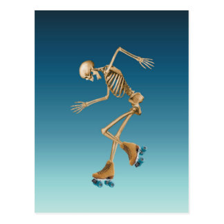 Roller Skating Skeleton Blues Postcard