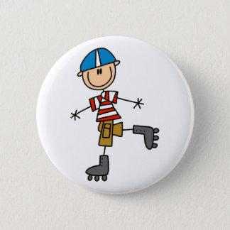 Roller Skating Stick Figure 6 Cm Round Badge