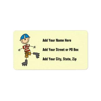 Roller Skating Stick Figure Address Label