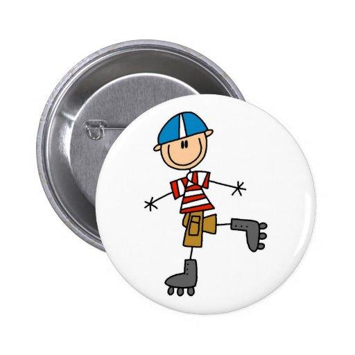 Roller Skating Stick Figure Button