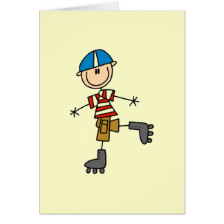 Roller Skating Stick Figure Card