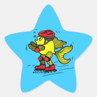 Rollerblade Fish funny Skating cartoon Star Sticker