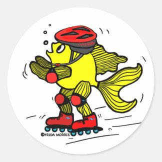 Rollerblade Fish funny Skating cartoon Sticker