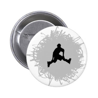 Rollerblading Scribble Style 6 Cm Round Badge