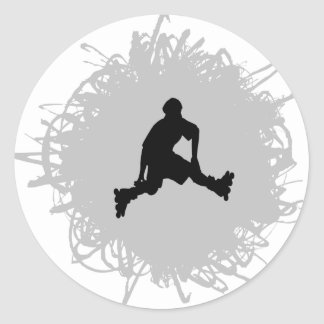 Rollerblading Scribble Style Round Sticker