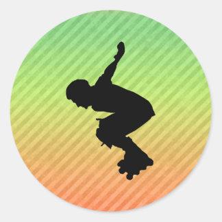Rollerblading Round Stickers