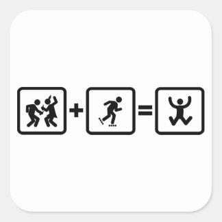 Rollerblading Square Sticker