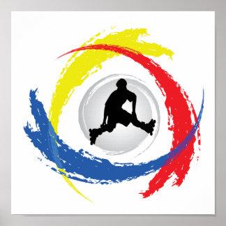 Rollerblading Tricolor Emblem Poster