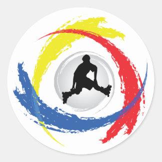 Rollerblading Tricolor Emblem Round Sticker