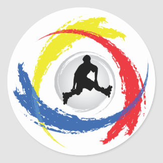 Rollerblading Tricolor Emblem Classic Round Sticker
