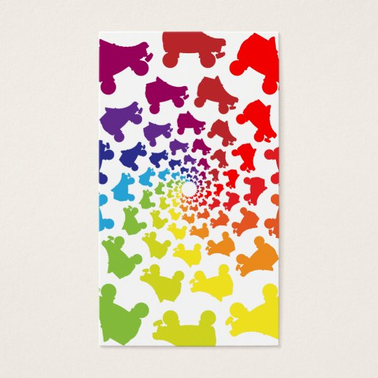 rollerskate rainbow circle business card