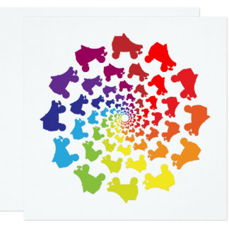 rollerskate rainbow circle card