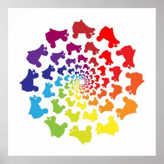 rollerskate rainbow circle poster