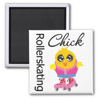 Rollerskating Chick Refrigerator Magnets