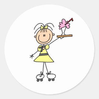 Rollerskating Waitress  Classic Round Sticker