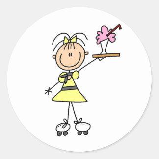 Rollerskating Waitress Round Sticker