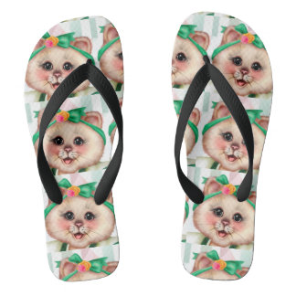ROLLET CAT CUTE Adult, Wide Straps Flip Flops