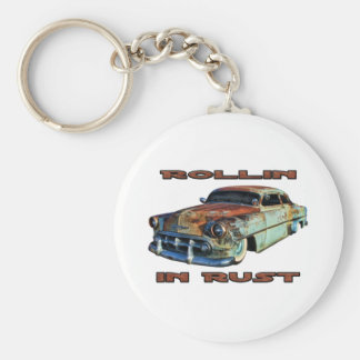 Rollin In Rust Chopped Chevy Basic Round Button Key Ring