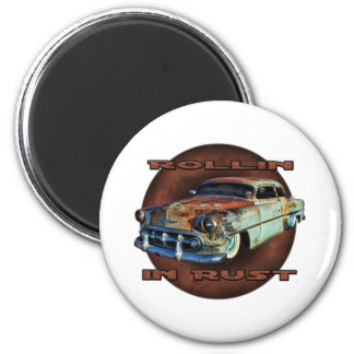 Rollin in rust Tail Dragger Chopped Chevy 6 Cm Round Magnet