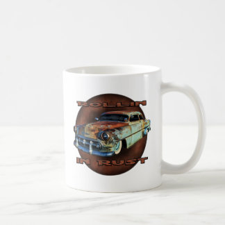 Rollin in rust Tail Dragger Chopped Chevy Basic White Mug