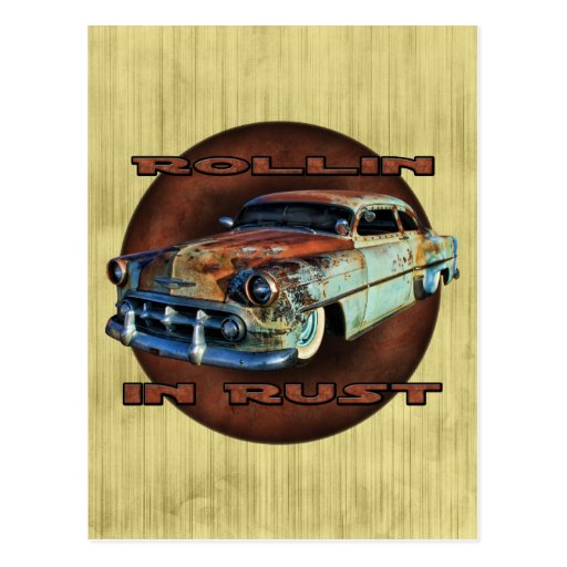 Rollin in rust Tail Dragger Chopped Chevy grunge Post Cards
