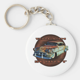 Rollin in rust Tail Dragger Chopped Chevy Key Chains